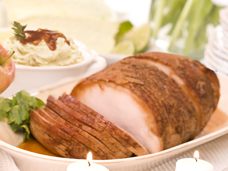 Order a freshly prepared Ham & Turkey deluxe dinner for four, just heat and serve!