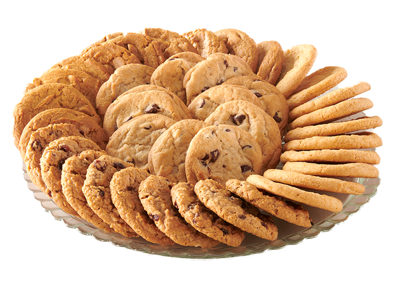 Plate with sugar, chocolate chip and peanut butter cookies
