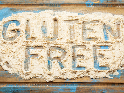 Gluten Free spelled out in wheat flour