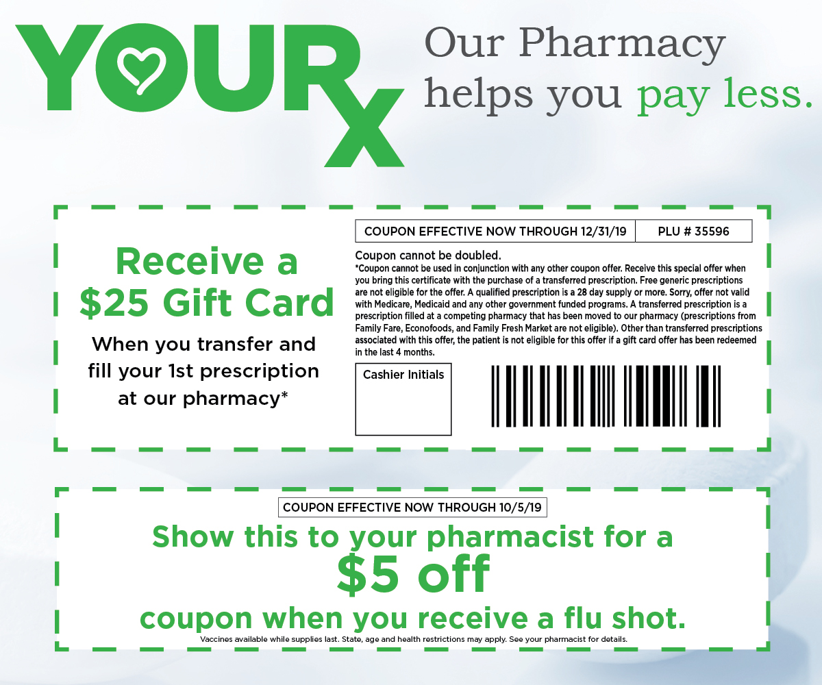 Receive a $25 dollar gift card when you transfer a prescription graphic