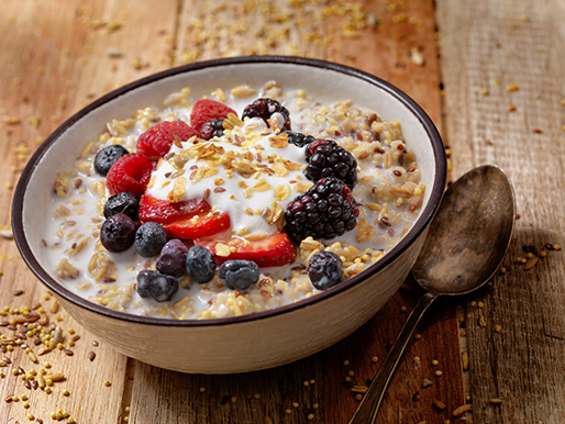 Bowl of oatmeal and berries