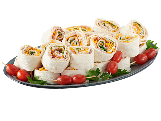Platter with sandwich wraps