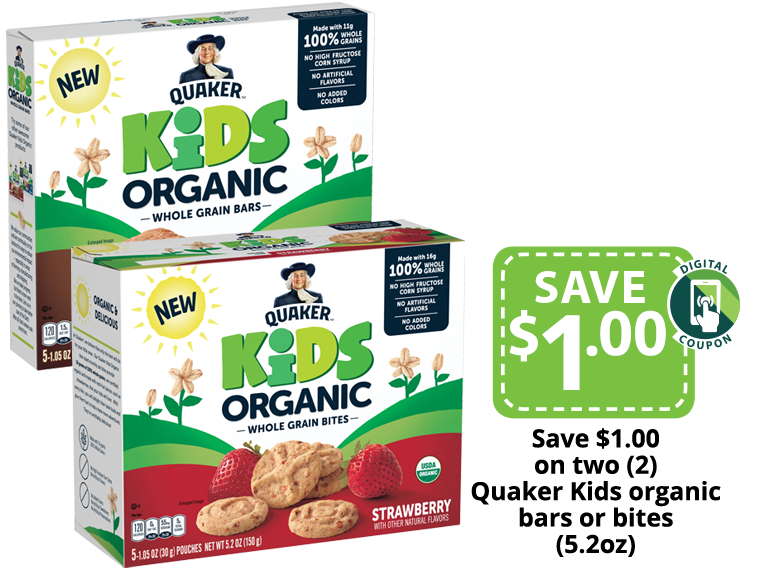New QuakerKids Organic Whole Grain Bars in our stores now!