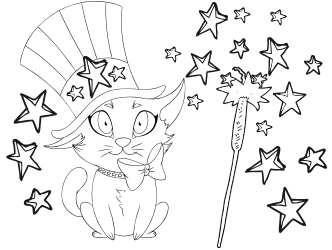 Patriotic Cat Sparkler Coloring sheet