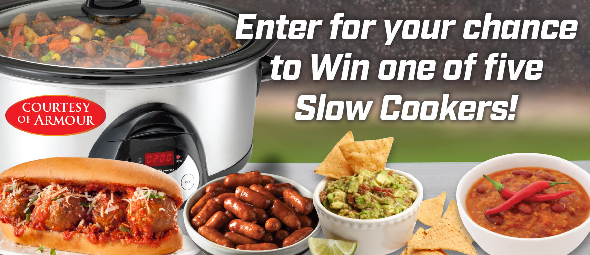 crockpot surrounded by various foods and headline that reads enter to win one of five slow cookers