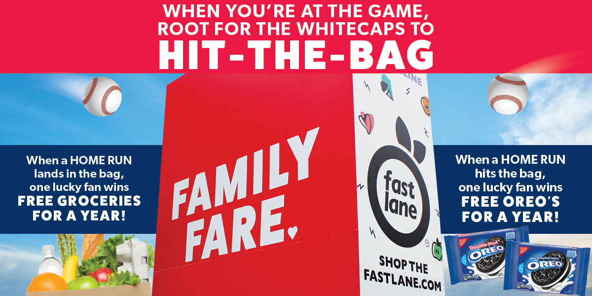 Hit the bag graphic promoting a chance to win free groceries or oreo cookies for one year