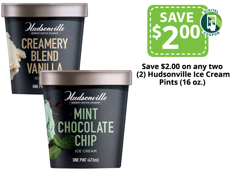 hudsonville ice cream pints of vanilla and mint chocolate chip
