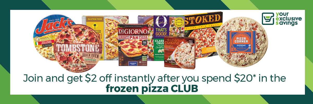 join the pizza club graphic and frozen pizza collage