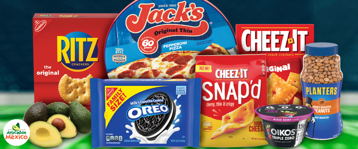 Game day snacks on sale now: Jacks Pizza, Ritz Crackers, Cheez It Crackers, Planters Peanuts, Oreo Cookies and Oikos Yogurt