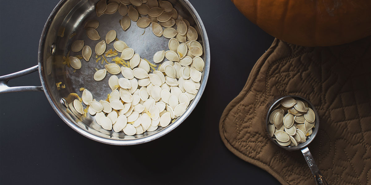 The seperated pumpkin seeds are ready to be prepped for the recipe.