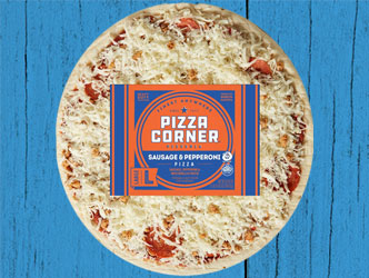 photo of pizza corner sausage pizza